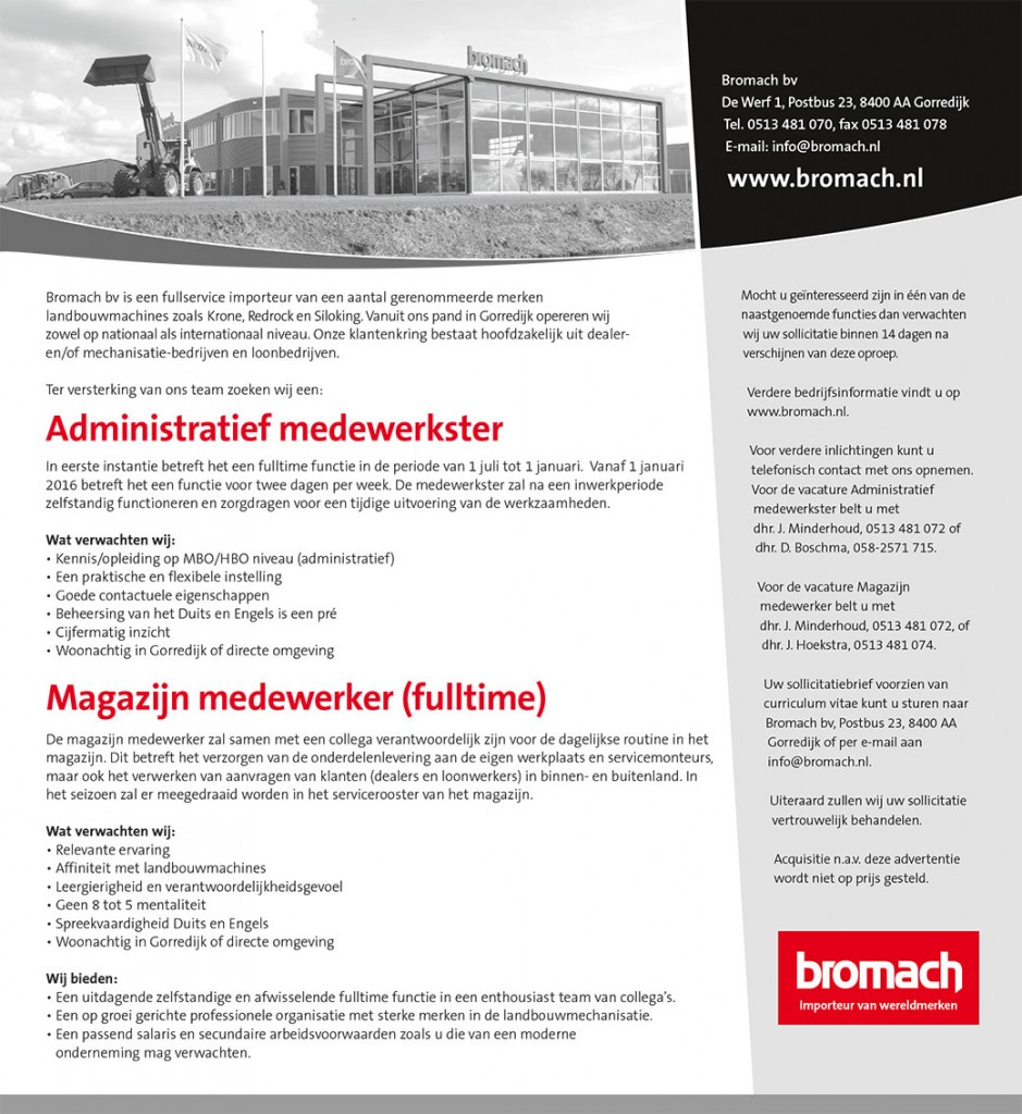 Bromach-vacature, april 2015